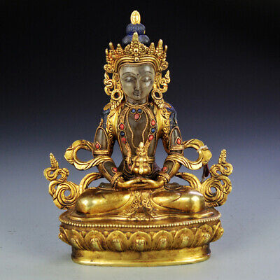 "9"" China old copper gilt inlay crystal Buddhism Amitabha Longevity Buddha statue"