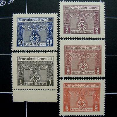Germany Butchery Fee revenue stamps-MNH-WW2 German nazi occupied Poland-Gen Gov