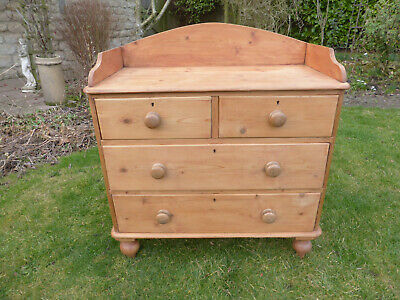 Antique Victorian Stripped Pine Chest Drawers, 2 +2 High. Gallery Back.