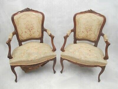 Antique French Louis XV gobelin pair of armchairs # D7096