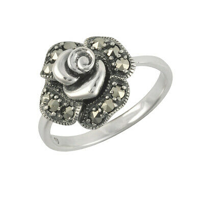 Esse Marcasite Sterling Silver Pave Set Marcasite Victorian Rose Ring - Size O