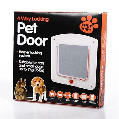 Dog Cat Mate 4 Way Locking Large Cat Dog Flap White Catflap Pet Door N7