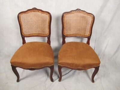 Antique pair of French Louis XV style caned chairs # 11276