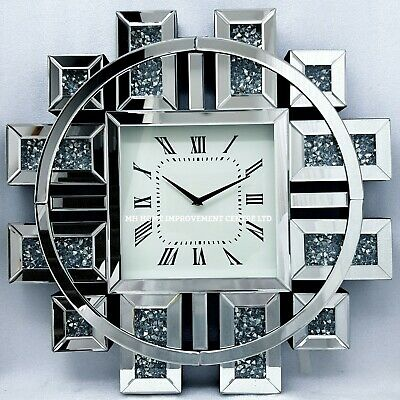 Sparkly Wall Clock Silver Mirrorred Diamond Crush Crystal Large Square 60x60cm