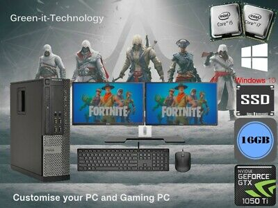 Dell Gaming & Dual Screen  i5 / i7 Desktop/Tower PC Win 10 ,16 GB,GT-1050 TI 4GB