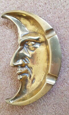 Antique Brass Ashtray 'Man in the Moon' - from family cottage