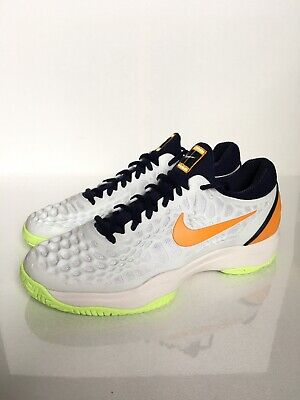 885a3d0daf1 NIKE AIR ZOOM Cage 3 HC Hard Court Tennis Shoes White/Orange SZ 9 ...