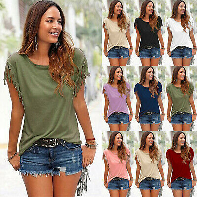UK Boho Women Tassels Short Sleeve T-Shirt Ladies Summer Casual Tops Blouse 6-22