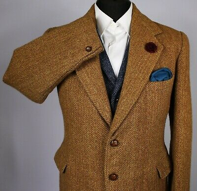 Harris Tweed Blazer Jacket Brown Vintage 40R 1940's HAND TAILORED TWEED X010