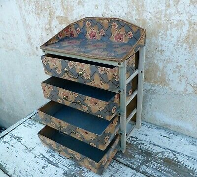 Dated aprox 1900s  A Gorgeous faded color fabric Boudoir box /sewing box