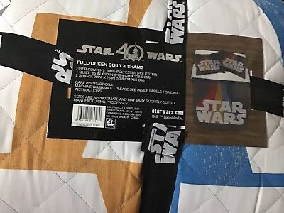 STAR WARS 40th Anniversary Full/Queen Quilt and Shams NEW!