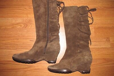 3a5acc9c1548 SOFFT SUEDE WEDGE Boots~Womens Size 7M~Lace Up Back Detail~Brown~EUC ...