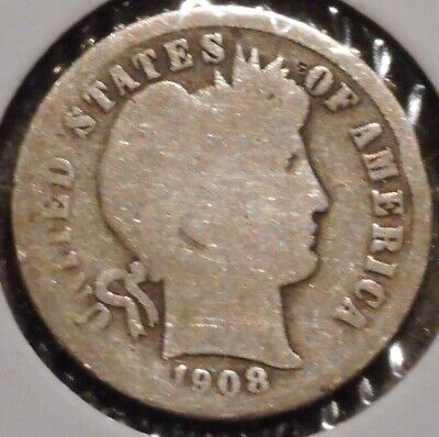 Barber Dime - 1908-S - Historic Silver! - $1 Unlimited Shipping
