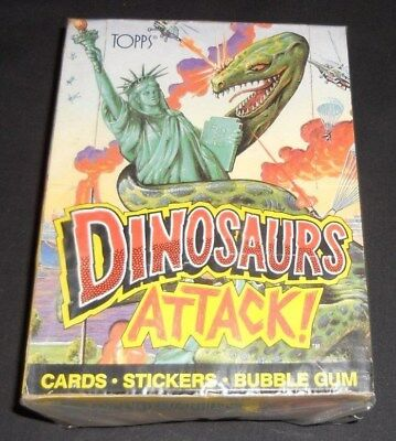 1988 Topps Dinosaurs Attack Wax Box with 36 Mint Wax Packs GLOBAL SHIPPING