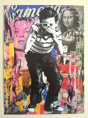 "Mr. Brainwash "" Smile "" Authentic Lithograph Print Street Art Graffiti Poster"