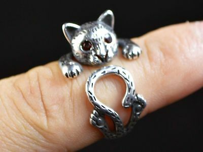 Vintage Silver Ring Cat Fashion Jewelry Embellishment Men Women Gift