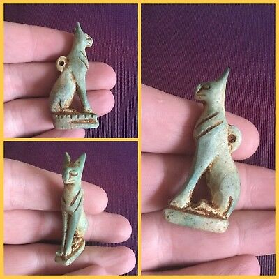 Rare ancient Egyptian blue cat amulet, 300 bc