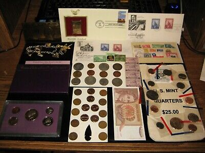 HUGE US Mint Coin Lot Jewelry Bank Bag Old Coins Old Stamps Proof Set 1st day