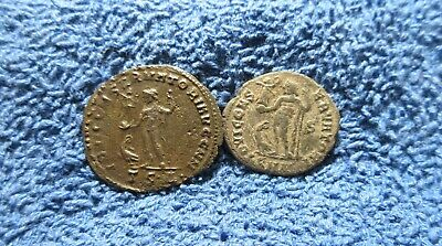 Lot of 2 Licinius I Ancient Roman Follis Coins ~ 1 Silvered & 1 Double Struck