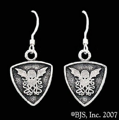 H P LOVECRAFT CTHULHU Crest earrings (2) silver