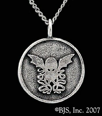 H P LOVECRAFT CTHULHU round logo necklace silver