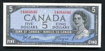 "BC-31b 1954 $5 FIVE DOLLARS BANK OF CANADA BANKNOTE ""DEVIL'S FACE"" GEM UNC"
