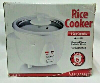Continental 6 Cup Rice Cooker 3 Cup Capacity Glass Lid  Cook & Warm Choice Color