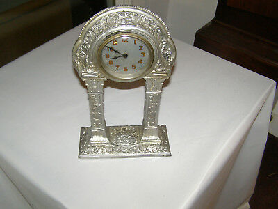 Antique Portico clock no makers name,  8 day time only movement,16 inches tall