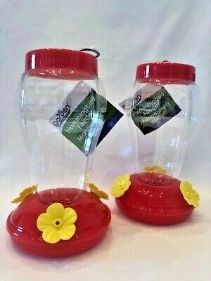 Garden Collection Hummingbird Feeder Plastic Hanging 6.75 Inches Tall Set of Two