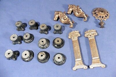 Antique Lot 18 pieces of clock ornaments for Bracket / Mantel clocks Two Horses