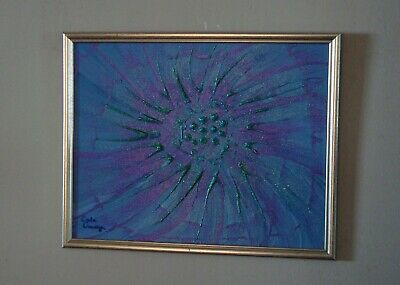 """Blue and Purple Flower!"" Original acrylic painting signed by Carla Dancey"