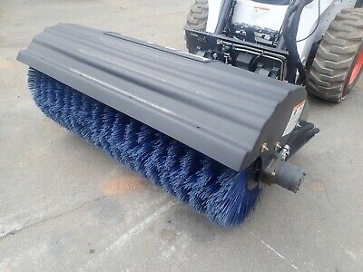 """2016 Used Bobcat 68"""" Angle Broom For Skid Steers, Poly Bristle, Ssl Quick Attach"""