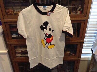 703a0097e4ef VTG NWT 80's Mickey Mouse Red Accented Colored Ringer Disney T Shirt SZ L -  Rare