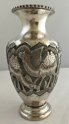 Splendid Solid Silver Antique Persian Middle Eastern Islamic vase- Hallmarked