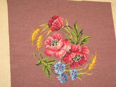 "Vtg.Paragon Tapestry Mauve Floral Pattern Seating/Framed 26""x 25""Made Canary Isl"