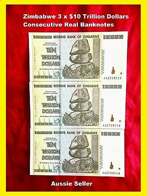 Real 3 X Zimbabwe 10 Trillion Dollars 2008 Banknote $7.65 Per Note Currency 100T