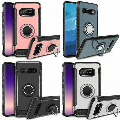 For Samsung Galaxy S10/S10 Plus Shockproof Ring Kickstand Hard Phone Case Cover