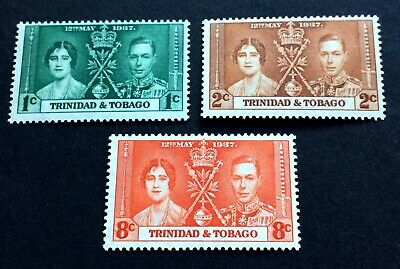Trinidad & Tobago 1937 - 3 coronation stamps mint maybe hinged - Michel 128-130