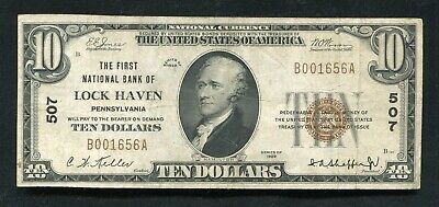 1929 $10 The First National Bank Of Lock Haven, Pa National Currency Ch.#507 (B)