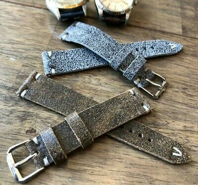 Italian Vintage Genuine Leather watch strap H/Made 16 18 19 20 22mm Patina Gray