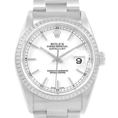 Rolex Datejust White Dial Automatic Steel Mens Watch 16220 Box Papers