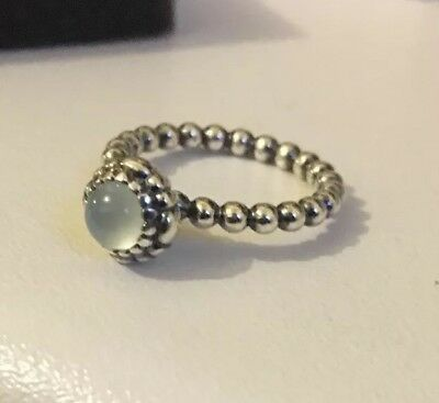 a758db99f PANDORA AQUA BLUE Poetic Droplet Ring Size 48 Brand New In Gift ...