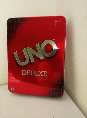 Original Uno Deluxe Card Game Cards Game in Metal Gift Box (2002 Mattel)