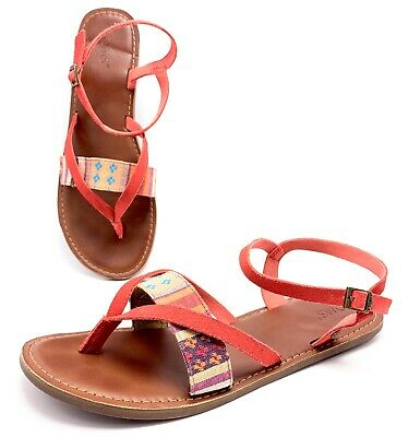 d3b109022eb Toms Womens 11 Red Suede Woven Strap Ankle Strap Gladiator Boho Thong  Sandals