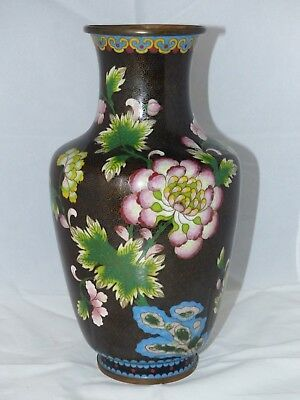 Large Antique Late 19th / Early 20th Century 12 Inch Cloisonné Vase