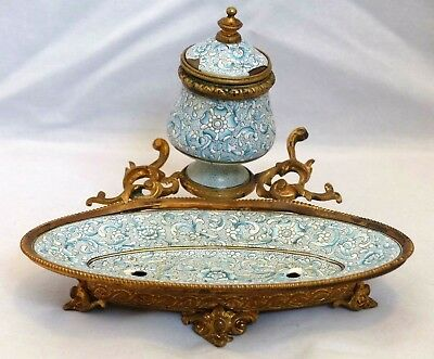 Antique 19th Century French Kiln Fired Enamel / Ormolu Inkwell / Stand