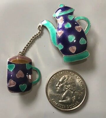 Sterling Silver Enamel Pin By Zarah-Colorful Coffee Pot and Coffee Cup