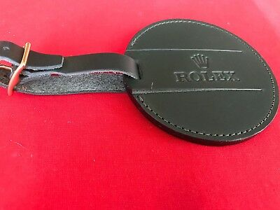 """Genuine Rolex 3.5"""" Diameter Bag Tag, finest leather (New - Never used)"""