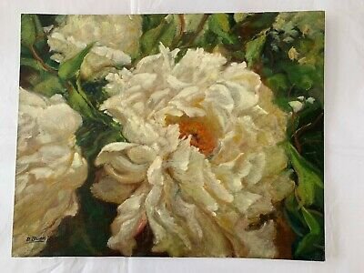 Dot Bunn Original Oil Painting 'Peonies' LISTED NEW HOPE SCHOOL Impressionist