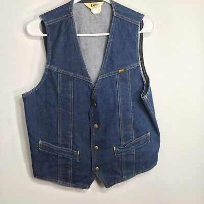 VTG Lee Mens Jean Vest Denim Medium EUC Lot WR